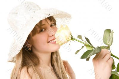 blonde woman with tea rose