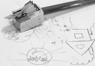 Sharpener, simple pencil and children`s figure