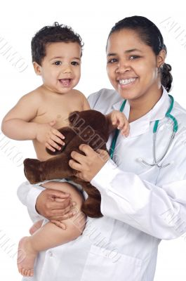 Nurse holding  baby