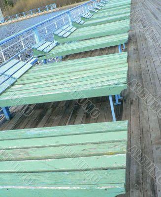 Plank beds on a beach