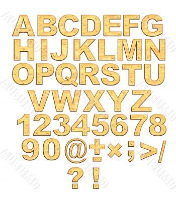 Alphabet - 3d golden letters with rivets