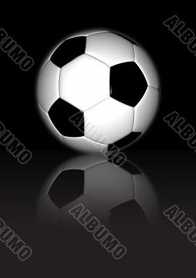 Football on dark reflective background