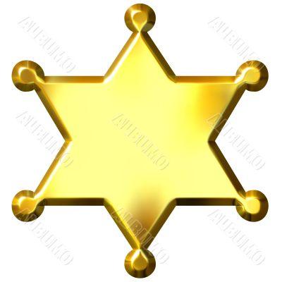 3D Golden Sheriff`s Badge