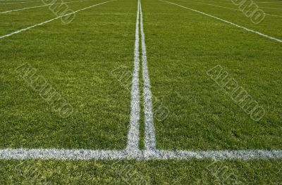 Perspective of a playing field with painted white lines