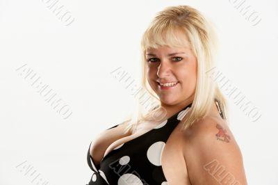 beautiful busty blonde in polka dot halter