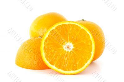 Few juicy oranges.