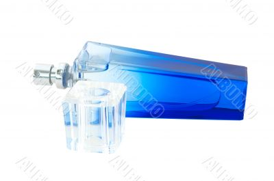 Perfume in deep blue scent-bottle.