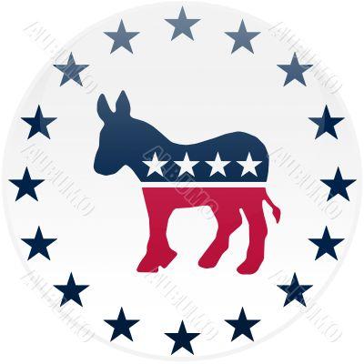 White Democrat Button