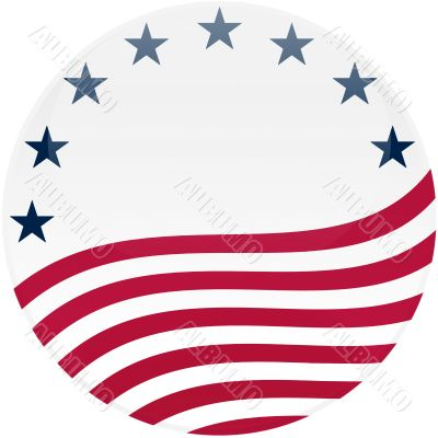 Waving American Flag on White with Stars