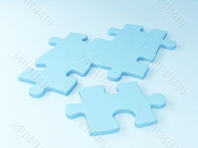 Five parts of a puzzle of blue color