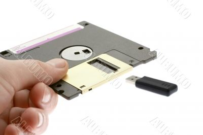 old diskette and USB