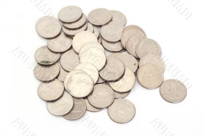 A pile of US Coins