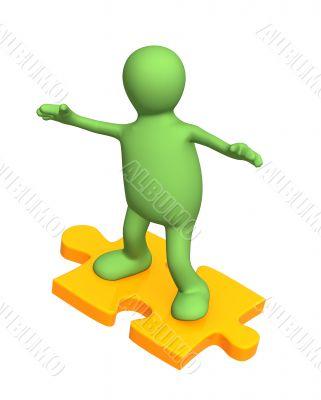 3d person puppet sliding on slice puzzle