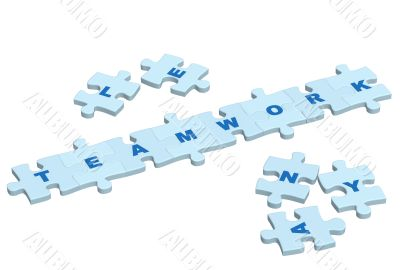Word teamwork from slices of a puzzle