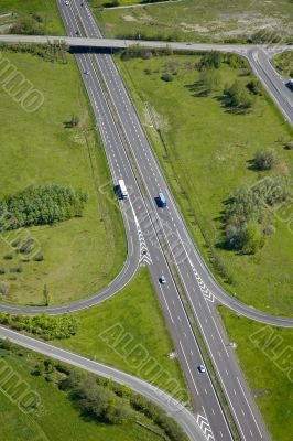 Aerial view of a motorway / Highway in France