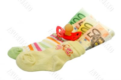 Baby socks with pacifier