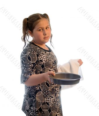 Girl Drying Dishes