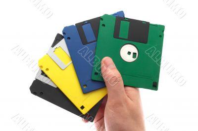 multi-coloured diskettes