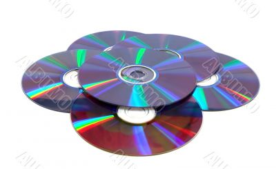 Scattered compact disks close up