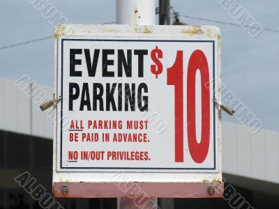 Event Parking Ten Dollars