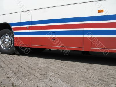 red blue and white bus