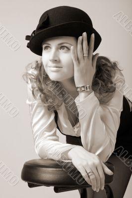 smiling woman in bonnet