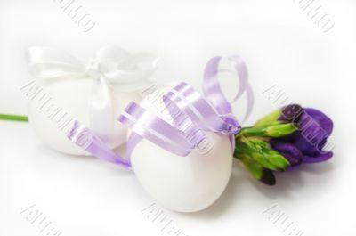 Two white eggs