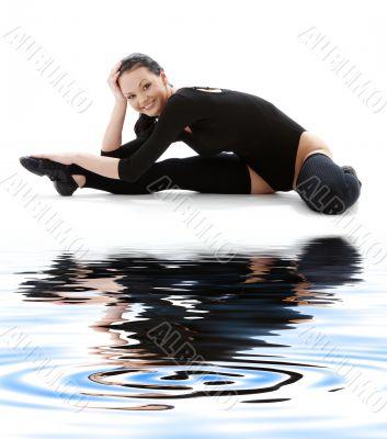 fitness black leotard on white sand #4