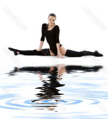 fitness in black leotard on white sand #6