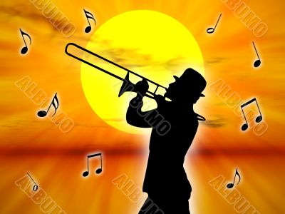 Player in the sunset