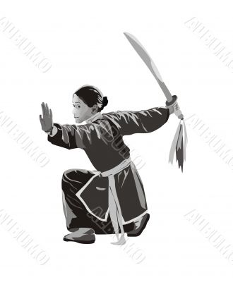 yang girl with sword