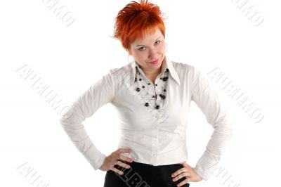 Serious business woman isolaited on white background