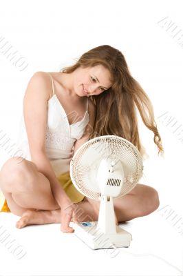 blonde girl with fan