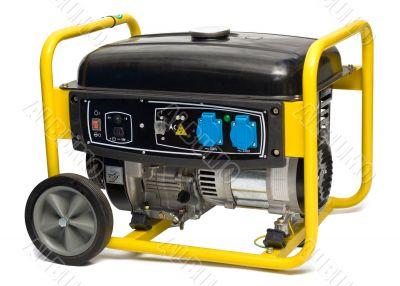 Yellow-black power generator isolated on white