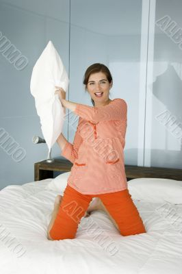 Throwing a pillow