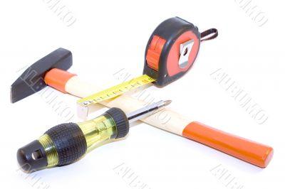 Tape-measure, hamer, screwdriver