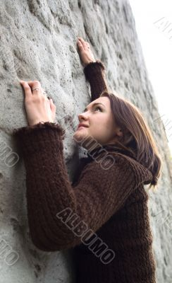 Young girl and wall