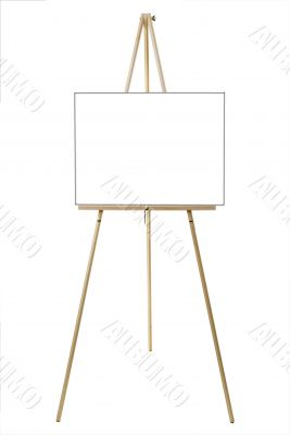 Blank white canvas on an easel