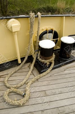 Iron bollard with ship ropes