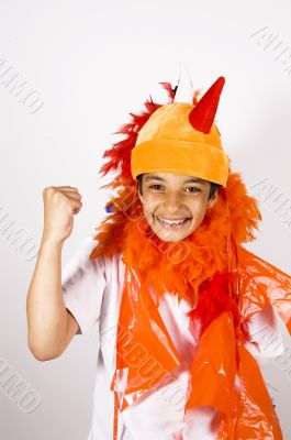 teenage boy cheering for Holland soccerteam