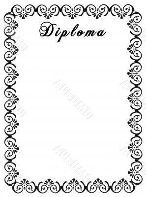 Diploma. Decorative framework.