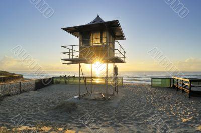 life guard tower at sunrise
