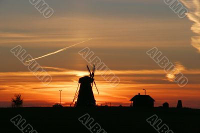 Mill in the sunset