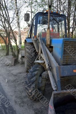 an old blue russian excavator