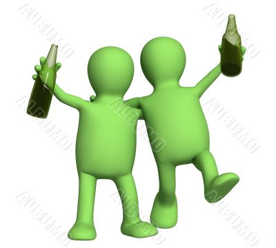 Two cheerful friends with bottles of beer