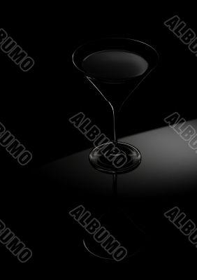 black cocktail glass still life