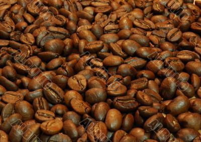 Heap of hot flavoured roasted coffee beans