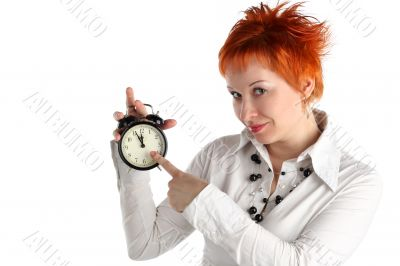 cheerful business woman with clock. Planning and organization concept
