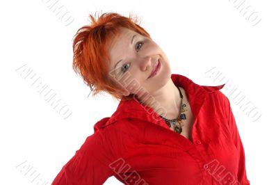 red haired young business woman isolaited on white background
