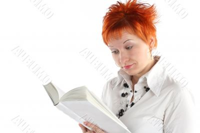 woman reading book isolaite on white background